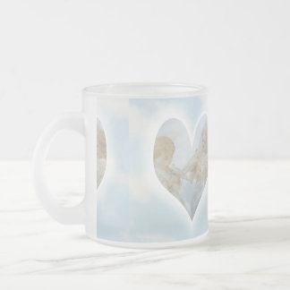 Care and Concern Cherubs with Doves in the clouds. Frosted Glass Coffee Mug