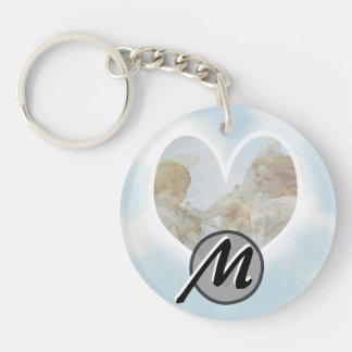 Care and Concern Cherubs with Doves Double-Sided Round Acrylic Keychain