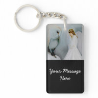 Care Guardian Angel and White Owl Acrylic Keychain