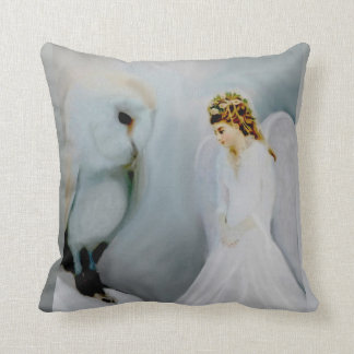 Care Guardian Angel and White Owl by Amelia Carrie Throw Pillow