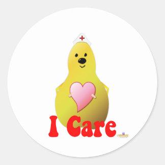Care Pear I Care Classic Round Sticker