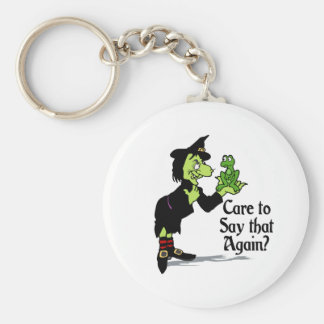 Care to say that again basic round button keychain