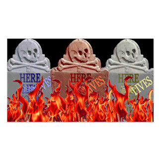 Career Tombstone Flaming Business Card