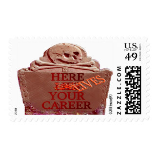 Career Tombstone Sepia Postage Stamp