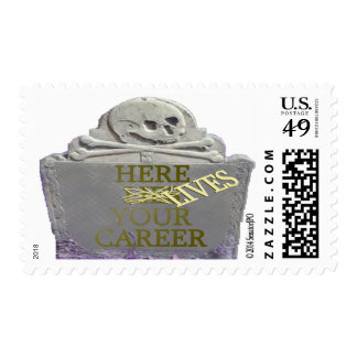Career Tombstone Yellow Postage Stamp