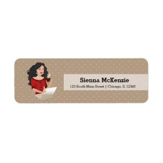 Career woman black hair label