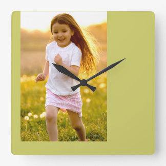 carefree happy girl running at sunset photo clock