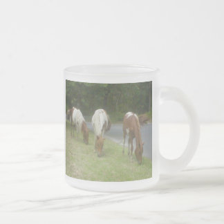Carefree Ponies 10 Oz Frosted Glass Coffee Mug
