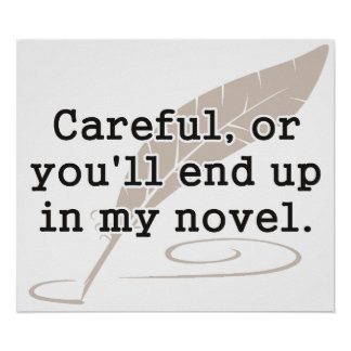 Careful or You ll End Up In My Novel Writer Poster