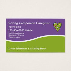 Caregiver Business Cards at Zazzle