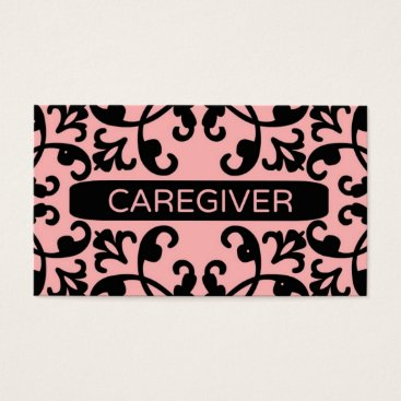 Professional Business Caregiver Damask Business Card