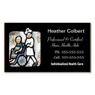 Care aide business cards zazzle caregiver professional magnetic business card colourmoves