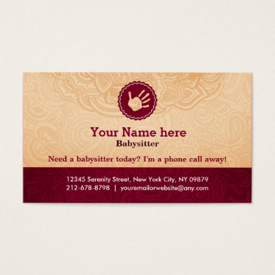 Babysitter Slogans Business Card Zazzle Com