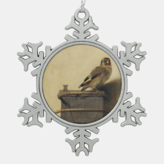 Carel Fabritius The Goldfinch Snowflake Pewter Christmas Ornament