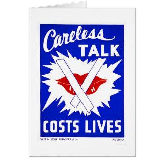 Careless Talk Costs Lives 1943 WPA Card