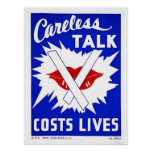 Careless Talk Costs Lives 1943 WPA Poster