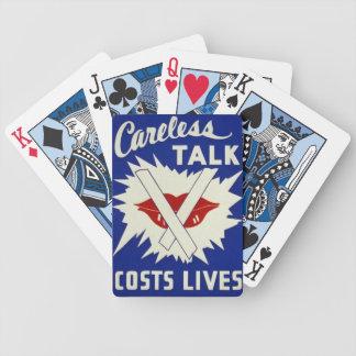 Careless talk costs lives  WWII era profaganda Bicycle Playing Cards