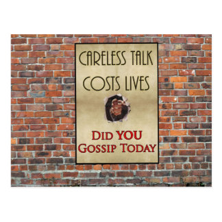 Careless Talk Propaganda Poster Post Card