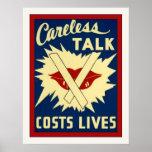 Careless Talk ~ Vintage World War 2 Print