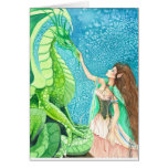 caressing the emerald dragon greeting card
