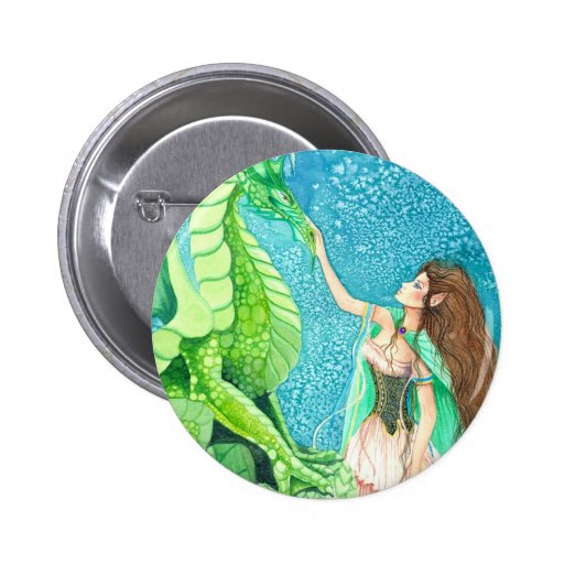 caressing the emerald dragon pinback buttons