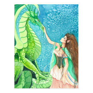 caressing the emerald dragon postcard
