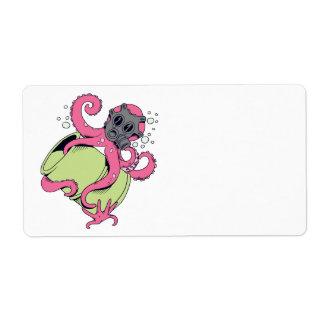 careta antigás del pulpo que lleva rosado etiqueta de envío