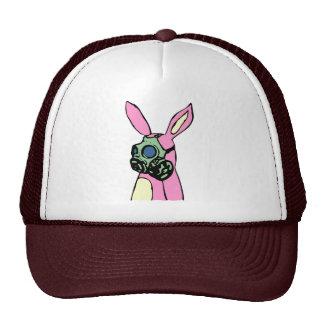Careta antigás rosada del conejo de conejito gorros bordados