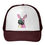 Careta antigás rosada del conejo de conejito gorras de camionero