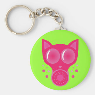 Careta antigás rosada del gato llavero redondo tipo pin