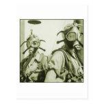 Caretas antigás militares retras de las mujeres 40 tarjetas postales