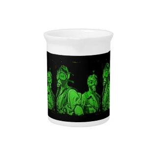 Caretas antigás verdes de neón jarrones
