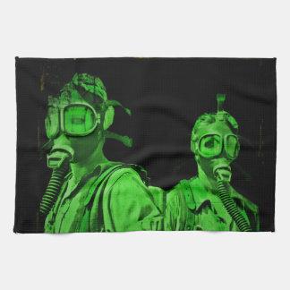 Caretas antigás verdes de neón toallas