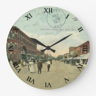 Carey Ohio Post Card Clock - Main Street 1917