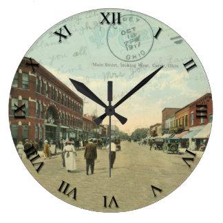Carey Ohio Post Card Clock - Main Street 1917