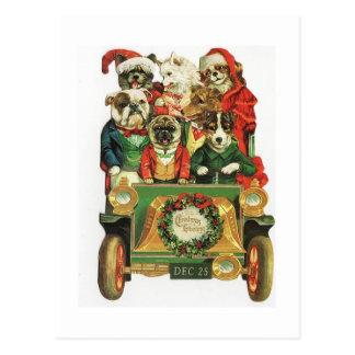 Carga del coche del navidad del vintage de perros tarjetas postales