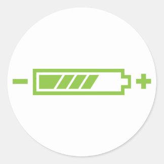 Cargado - eléctrico híbrido solar de la batería pegatina redonda