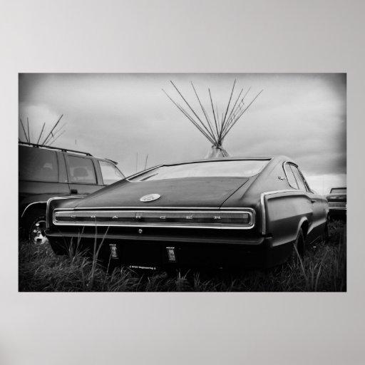 Cargador de 1966 Dodge (B/W) Posters