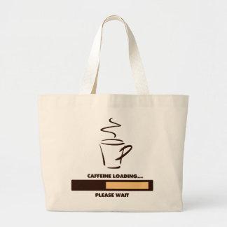 CARGAMENTO DEL CAFEÍNA - ESPERE POR FAVOR BOLSAS LIENZO