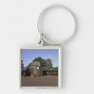 Cargo being prepared Silver-Colored square keychain