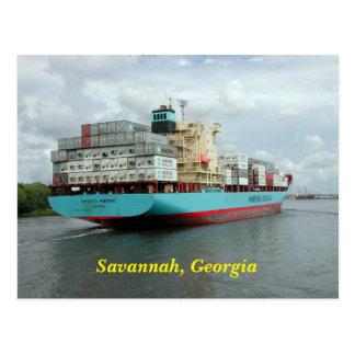 Cargo Container Ship Postcard