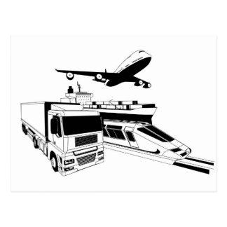 Cargo logistics transport illustration postcard