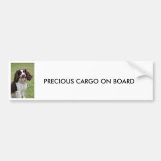 CARGO PRECIOSO del perro de aguas de saltador ingl Etiqueta De Parachoque