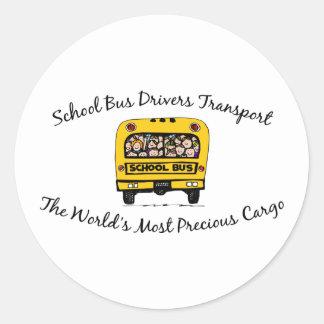Cargo precioso del transporte de los conductores pegatina redonda