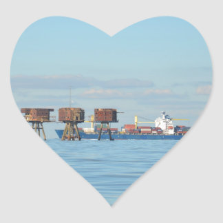 Cargo Ship And Forts Heart Sticker