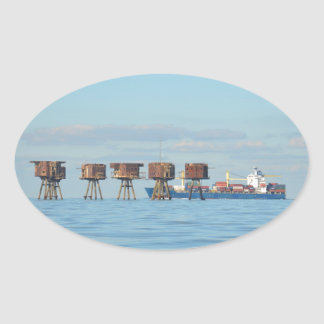 Cargo Ship And Forts Oval Sticker