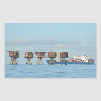 Cargo Ship And Forts Rectangular Sticker
