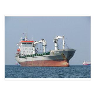 Cargo Ship Bozona Bows Postcard