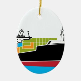 Cargo Ship Ceramic Ornament