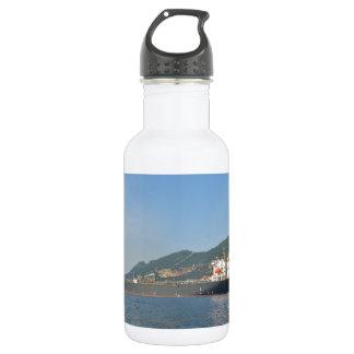 Cargo Ship Entering Gibraltar Stainless Steel Water Bottle